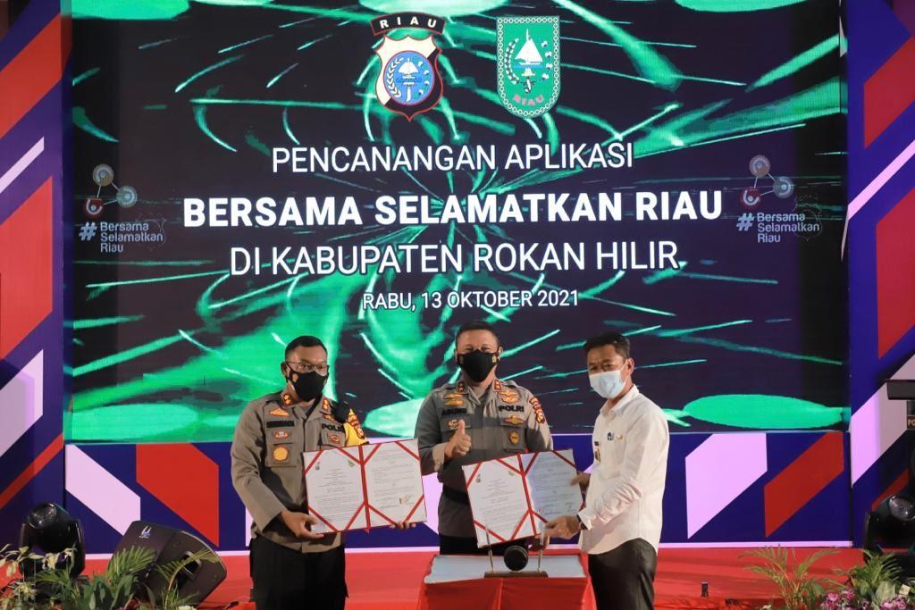 Resmi Diluncurkan, Aplikasi BSR Polda Riau Efektif Tekan Penyebaran Covid-19 di Rohil