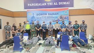 Sambut HIT TNI AL ke 76, Lanal Dumai Gelar Donor Darah